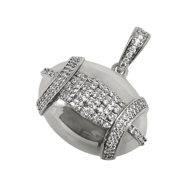 Football Sports CZ Rhodium Bling Bling Pendant