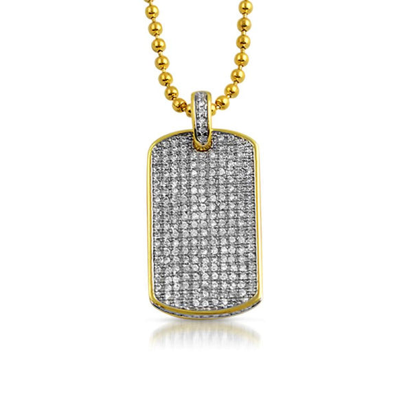 CZ Bling Bling Dog Tag Medium Gold Pendant