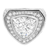 .925 Sterling Silver Trillion CZ Bling Bling Ring