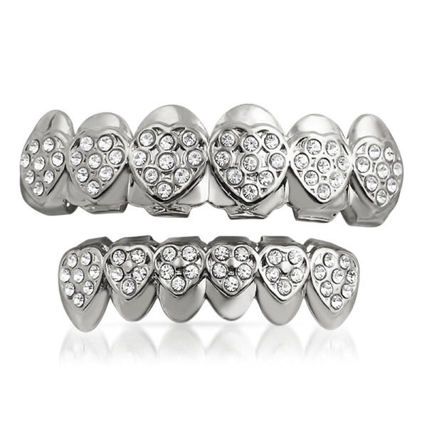 Heart Teeth Silver Grillz Top Bottom Set