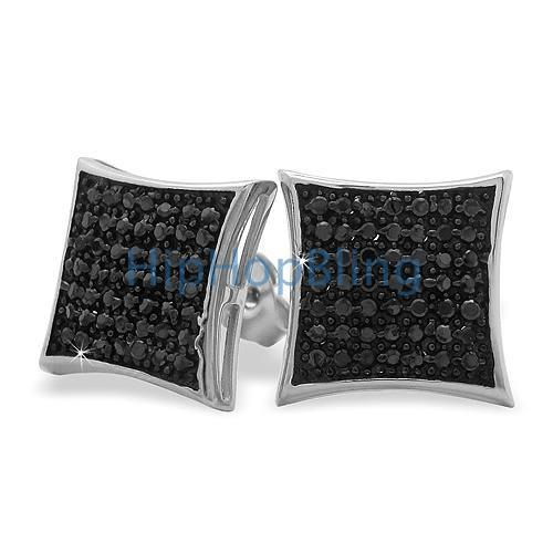 XL Puffed Kite Black CZ Micro Pave Earrings .925 Silver