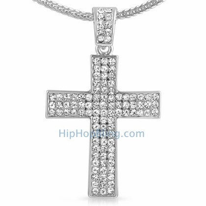 3 Row Cross Bling Bling Chain Small