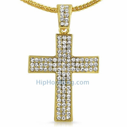 3 Row Cross Gold Bling Bling Chain Small