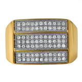 Triple Ice Bar Gold CZ Bling Bling Ring