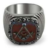 Black Masonic Mens Bling Bling Ring