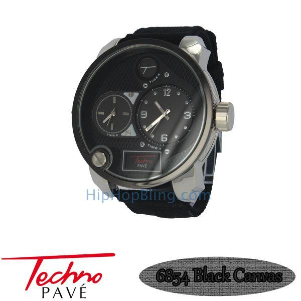 Dual Timezone Silver Fashion Watch Black Canvas Band