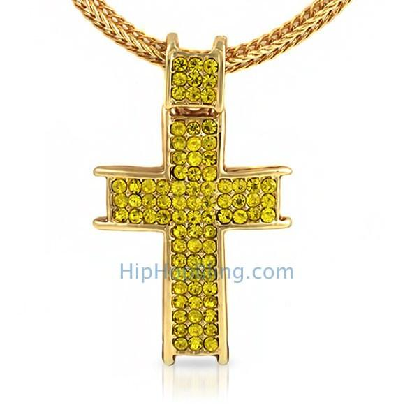 Ice Channel Lemonade Bling Cross Chain Small