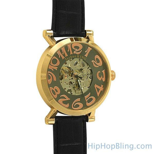 Gold Skeleton Automatic Watch Leather Band