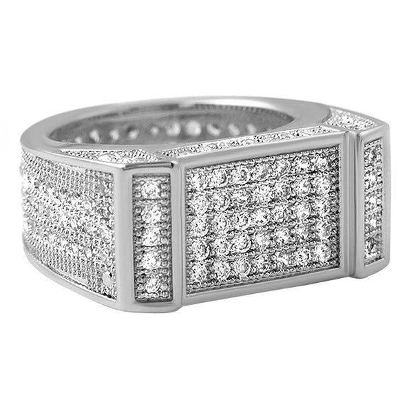 Rhodium Bar CZ Bling Bling Ring