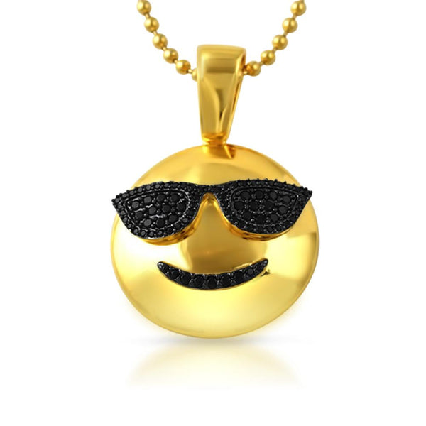 Emoji Sunglasses Face CZ Gold Bling Bling Pendant