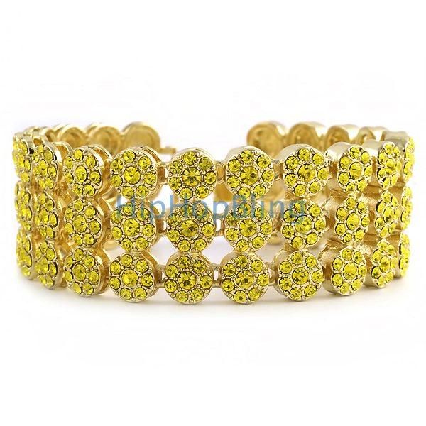 3 Row Cluster Lemonade Bling Bling Bracelet