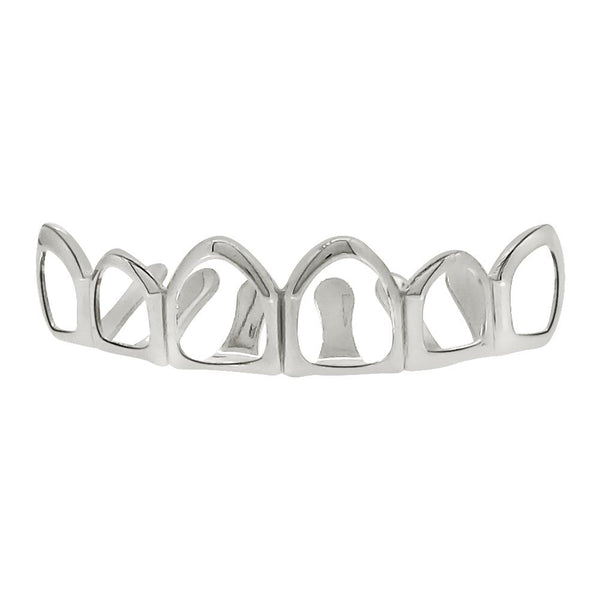 Silver Grillz 6 Outline Teeth Top