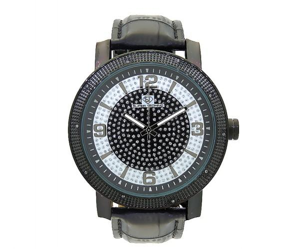 Super Techno .10ct Diamonds Watch Black