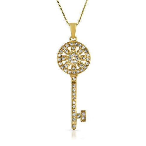 Gold Sunflower Key CZ .925 Sterling Silver Pendant