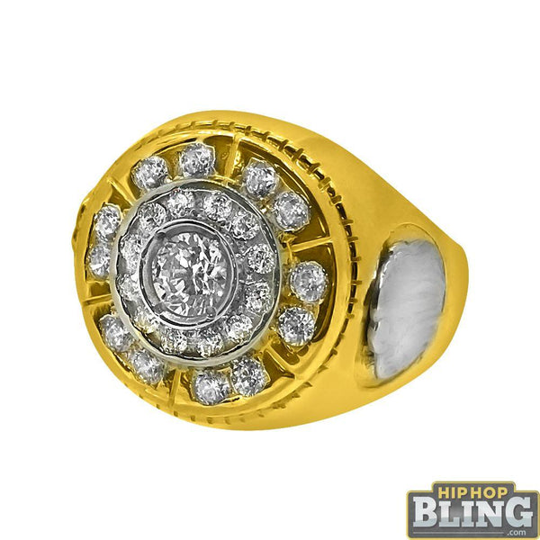 10k Yellow Gold CZ Ice Burst Mens Bling Ring
