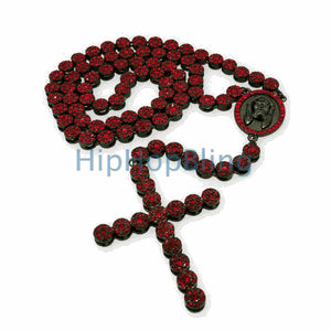 Cluster All Red on Black Bling Bling Rosary Necklace