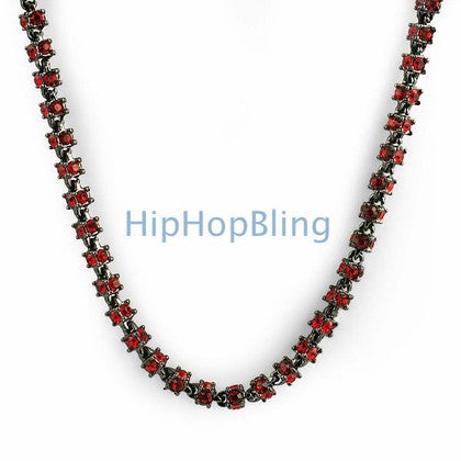 3D Red on Black Bling Bling Chain