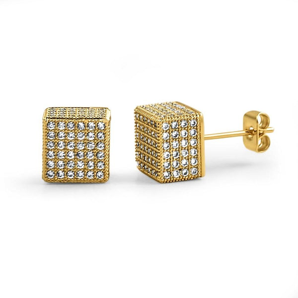 Cube Gold CZ Hip Hop Bling Bling Earrings
