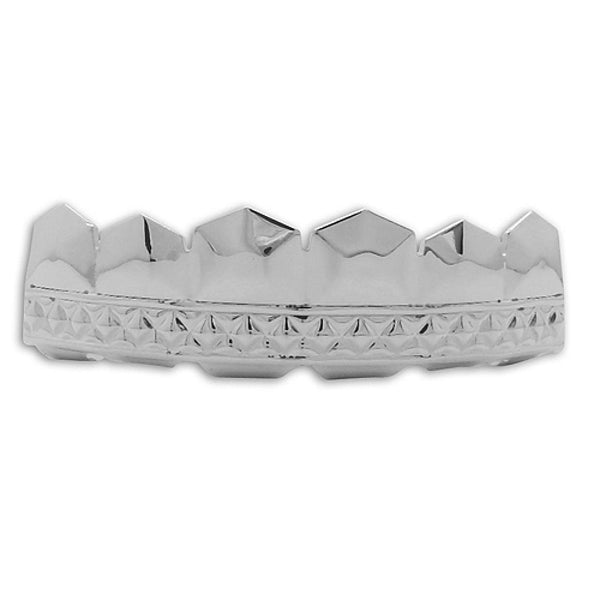 Sharp Diamond Cut Platinum Teeth Grillz