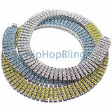 4 Row Chain Light Blue Yellow & White Bling Bling