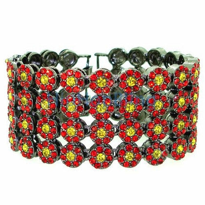 4 Row Bling Cluster Bracelet Red & Yellow