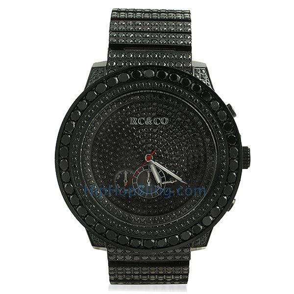 RC&Co CZ Black Big Bezel Hip Hop Watch
