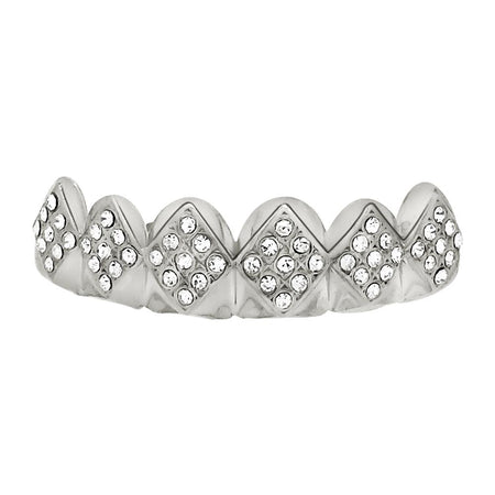 Diamond Cut Grillz Set Bar Style Rhodium
