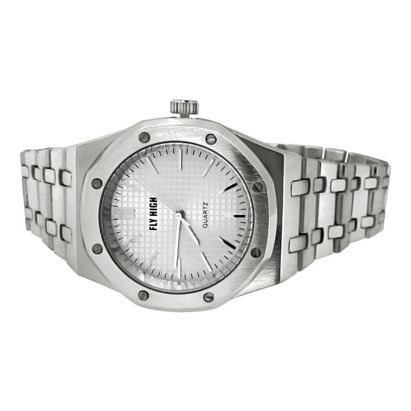 Silver Brushed Octagon Bezel Watch