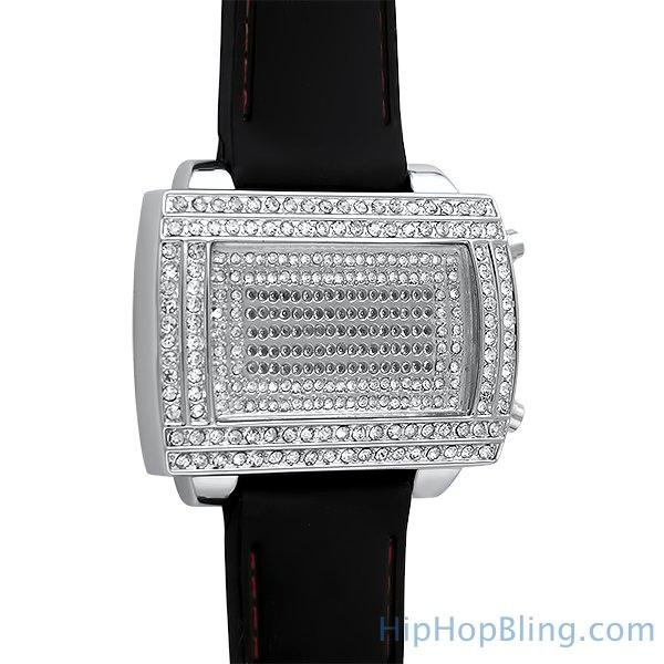 LED Digital Block Face Silver Watch Black Band