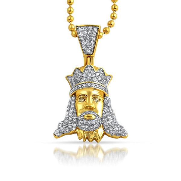 Jesus with Crown Hip Hop CZ Gold Pendant