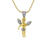 Gold Angel Micro Iced Out Gold Pendant