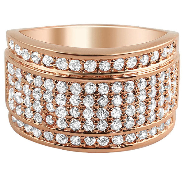 Classic CZ Micro Pave Rose Gold Mens Iced Out Ring