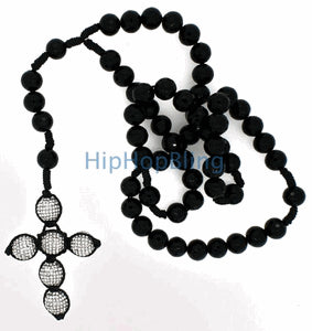 Disco Ball Cross Bling Bling Rosary Necklace
