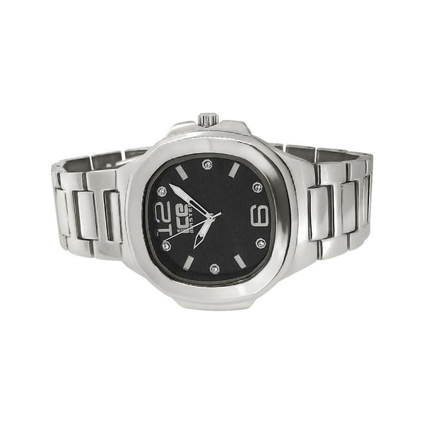 Silver Modern Fashion Metal Watch Black Dial