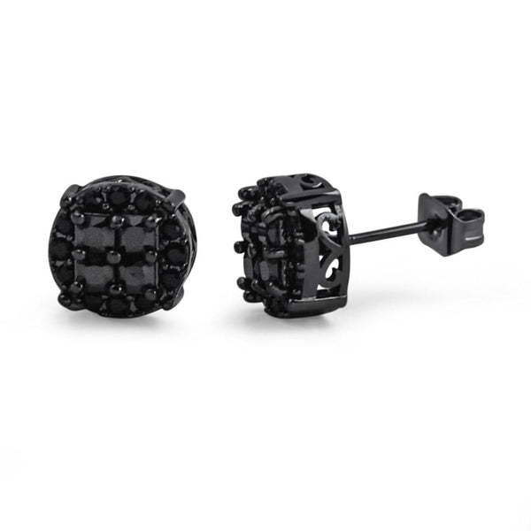Princess Cut Round Cluster Black CZ Hip Hop Earrings