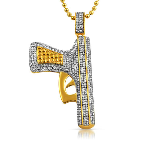 Gold CZ Handgun Hip Hop Pendant Jewelry