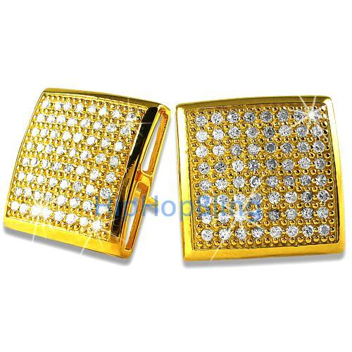 XXL CZ Puffed Box Gold Vermeil Bling Bling Micro Pave Earrings .925 Silver