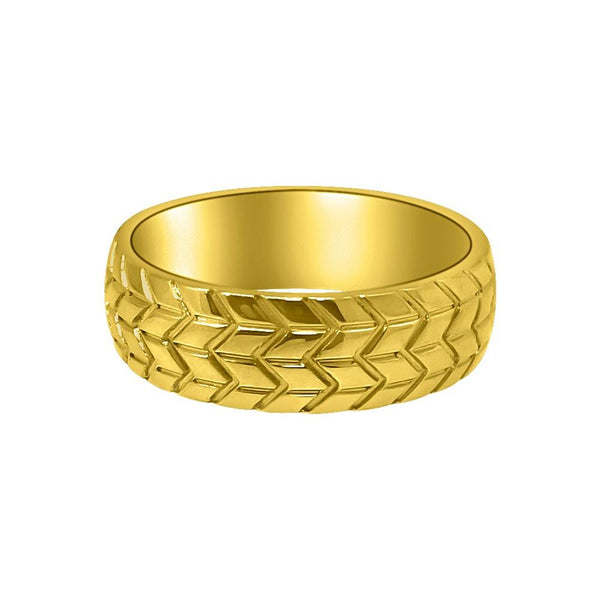 Tire Tread Gold Eternity Ring Stainless Steel