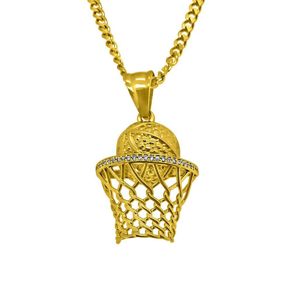 Gold Micro Basketball Hoop Hip Hop Pendant
