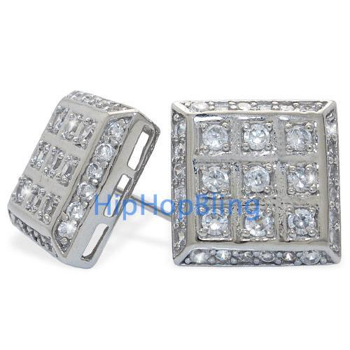 CZ Iced Out Large Box Sterling Silver Micro Pave Hip Hop Earrings