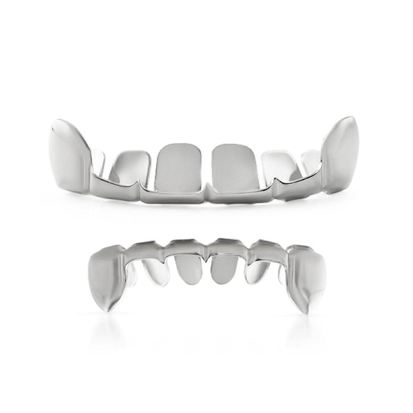Silver Grillz Half Open Top & Bottom Teeth Set