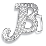 B Initial Jumbo Belt Buckle Rhodium