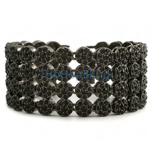 Cluster Black on Black 4 Row Bling Bling Bracelet