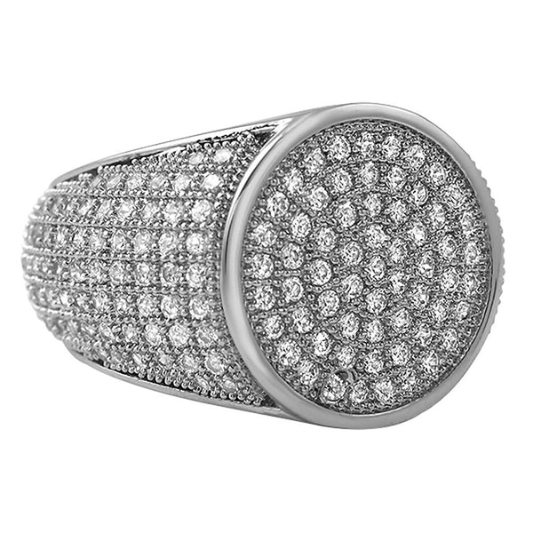 Round Rhodium CZ Micro Pave Bling Ring