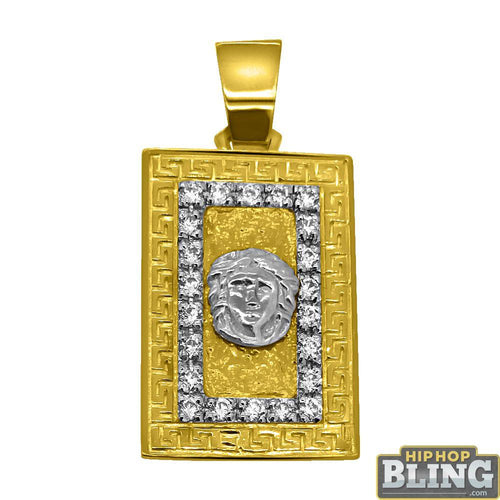 10K Yellow Gold CZ Medusa Block Pendant