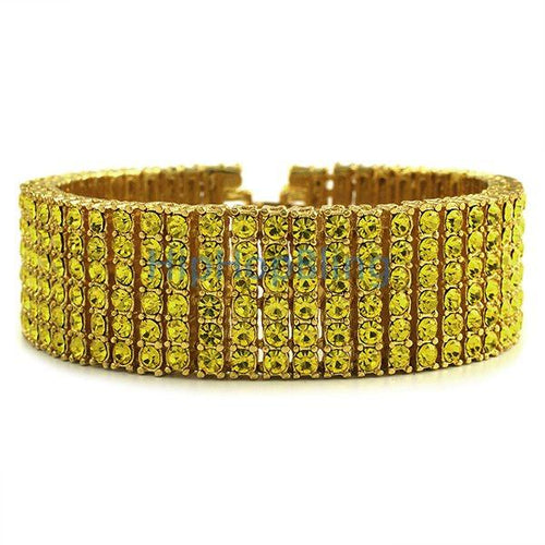 Exclusive All Canary Bling 6 Row Gold Bracelet