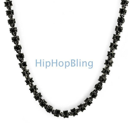 Black and Yellow Lab CZ Bling Cluster Chain