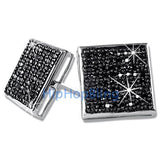 XXL Box Black CZ Micro Pave Bling Bling Earrings .925 Silver