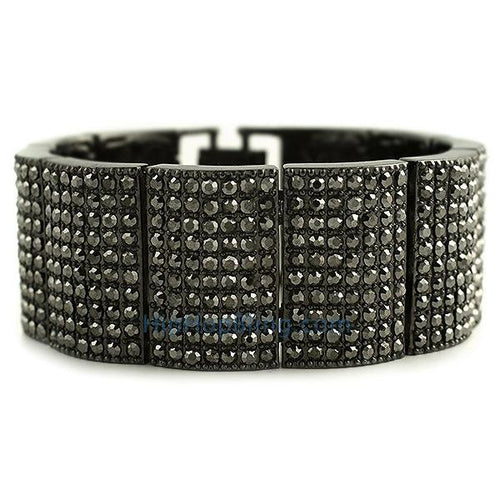 Black Ice Bump Wide Bling Bling Bracelet