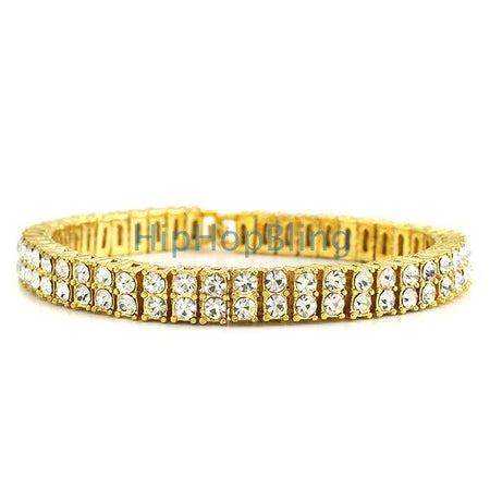 6 Row Bling Bling Iced Out Bracelet Gold * Premium *